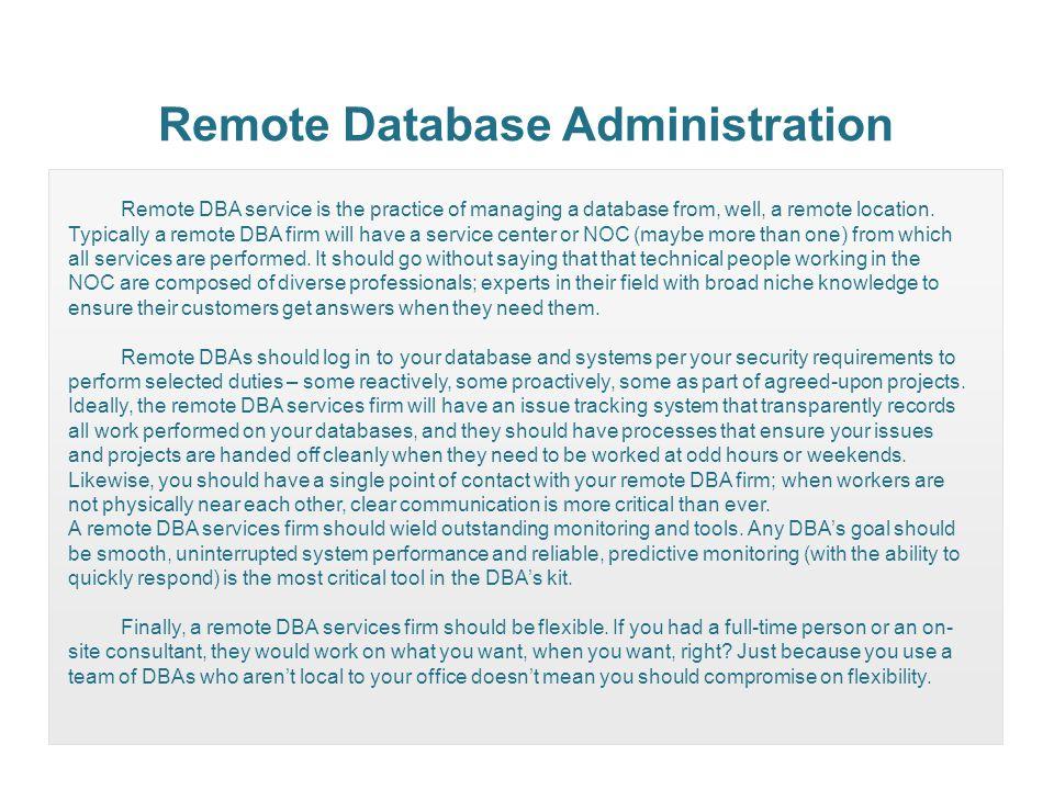 Remote Database Administration