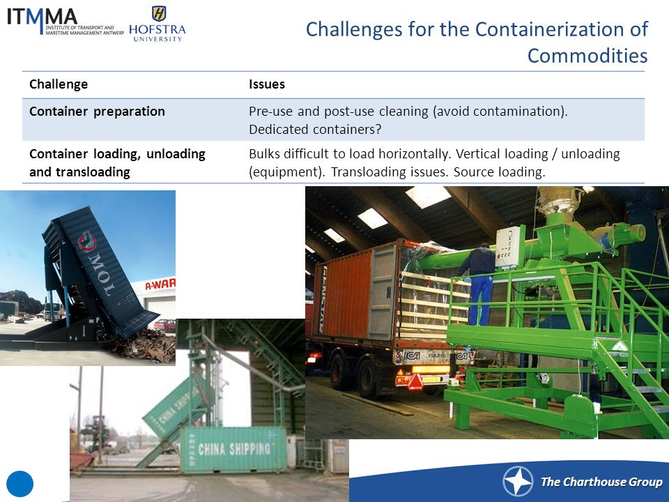 Challenges for the Containerization of Commodities