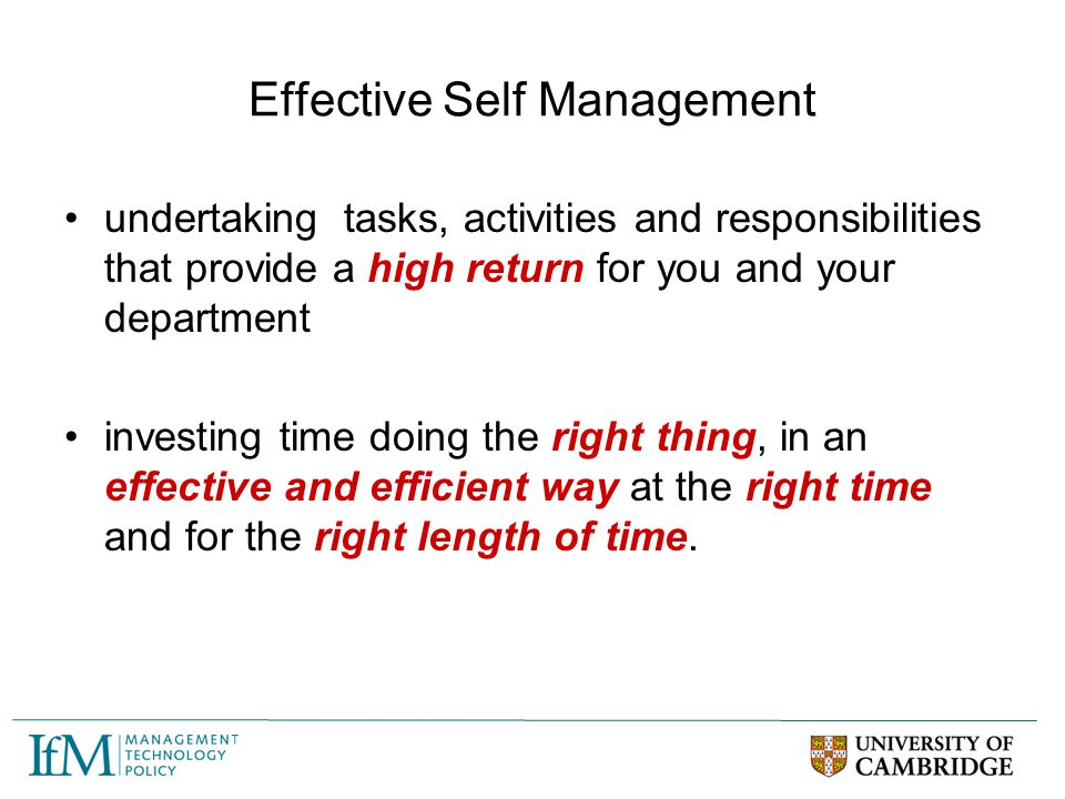 Effective Self Management