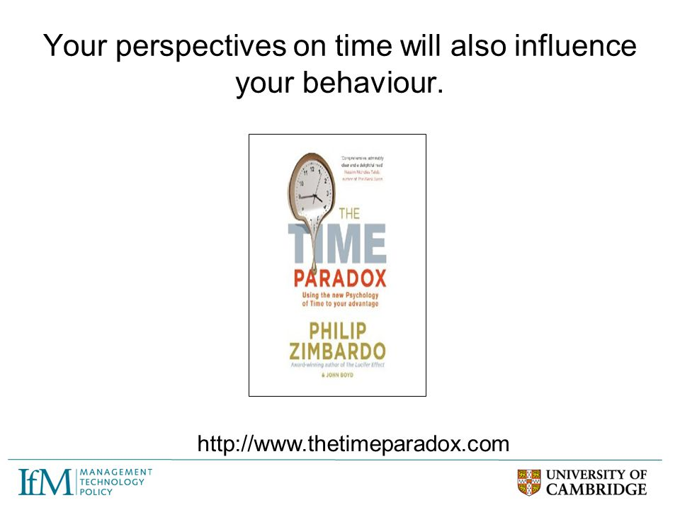 Your perspectives on time will also influence your behaviour.