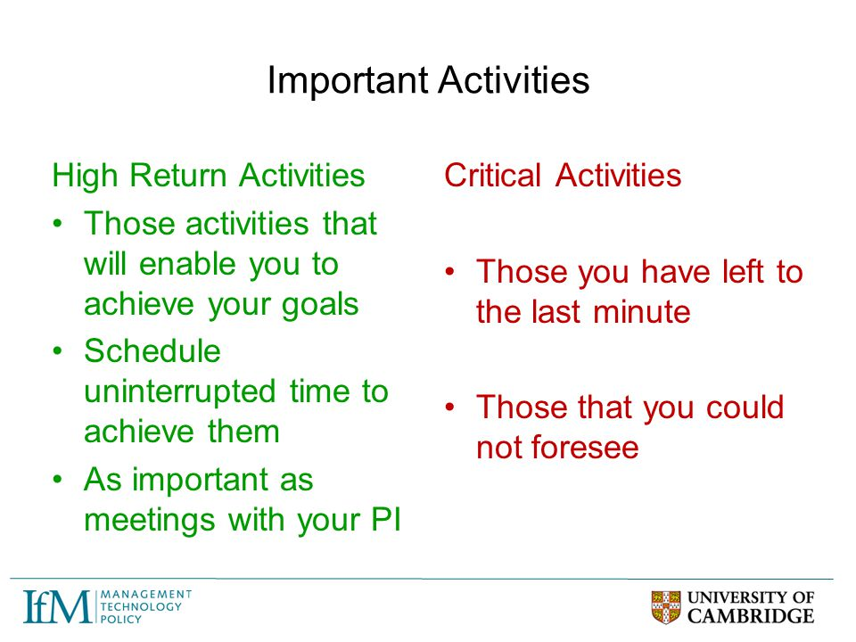 Important Activities High Return Activities