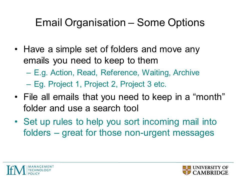 Email Organisation – Some Options