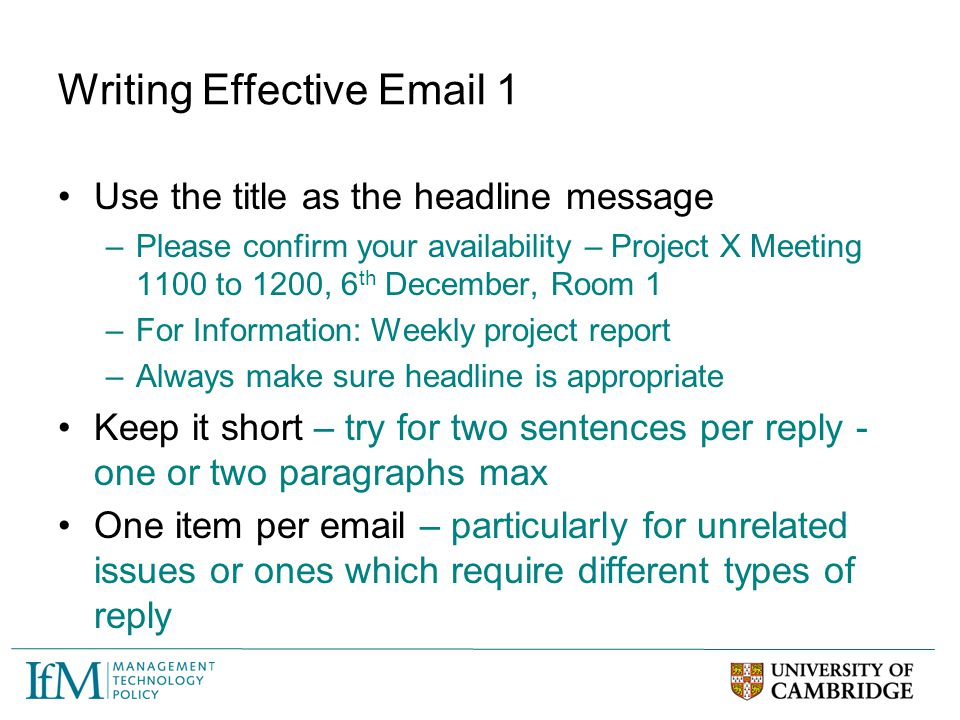 Writing Effective Email 1