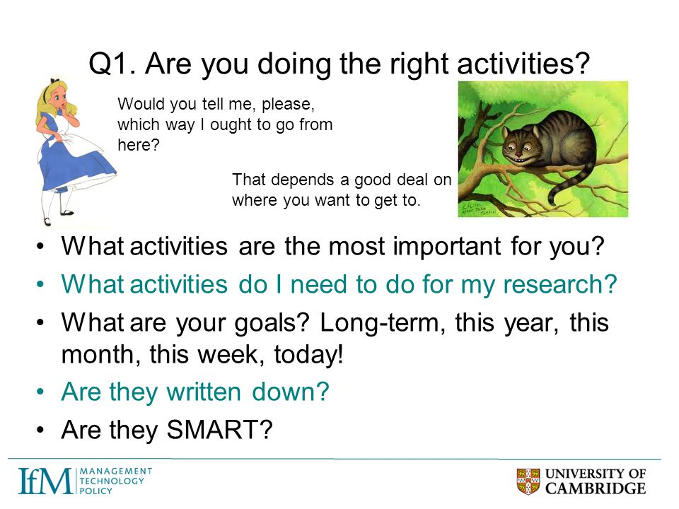 Q1. Are you doing the right activities