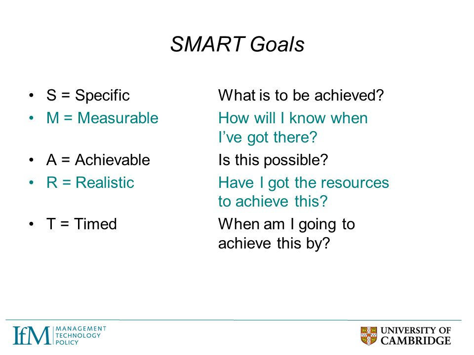 SMART Goals S = Specific What is to be achieved