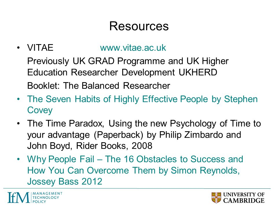 Resources VITAE www.vitae.ac.uk
