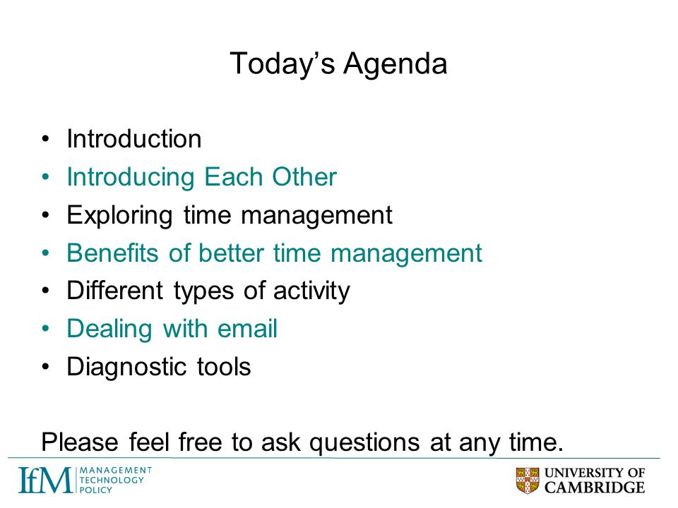 Today's Agenda Introduction Introducing Each Other