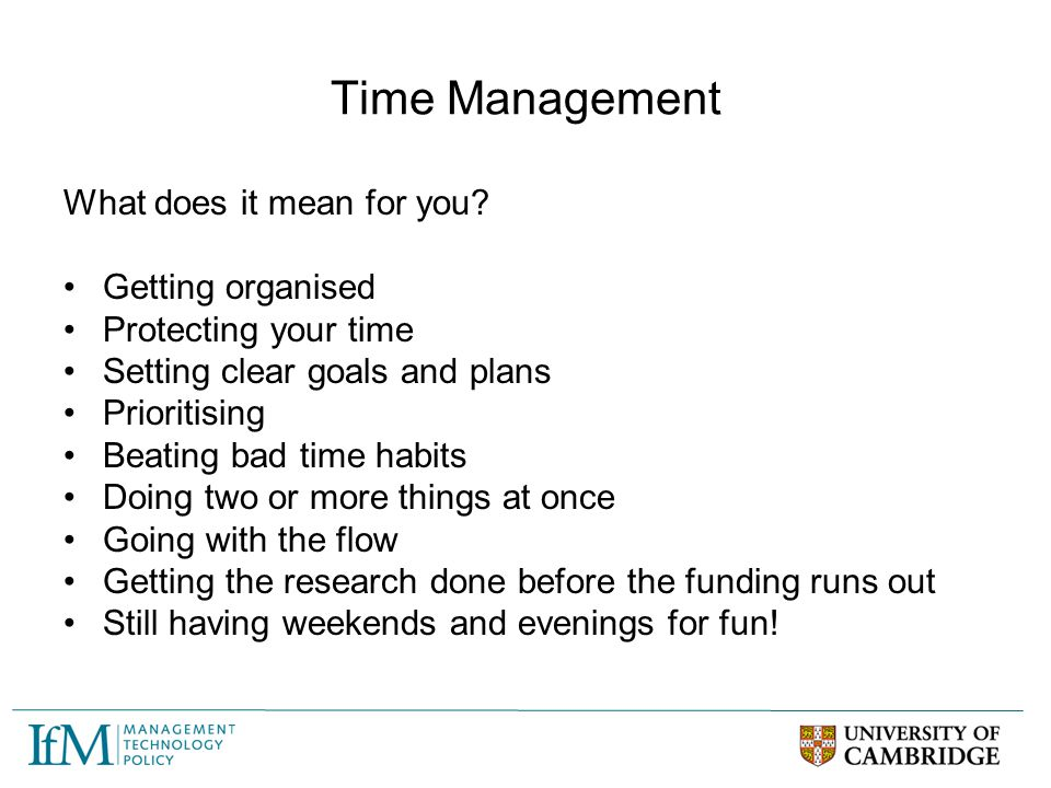 Time Management What does it mean for you Getting organised