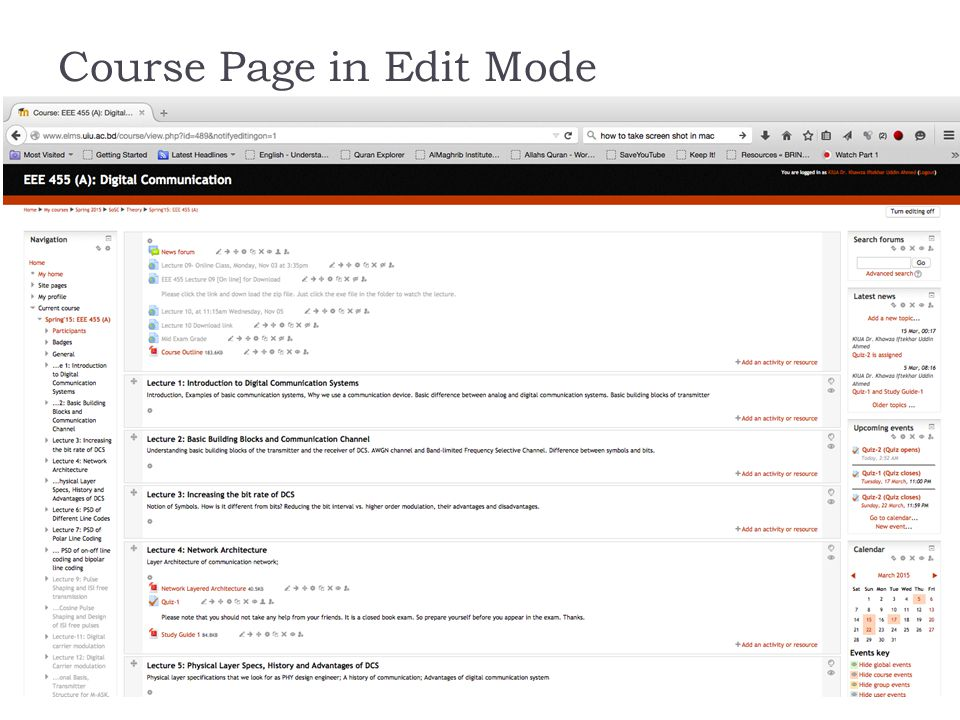 Course Page in Edit Mode