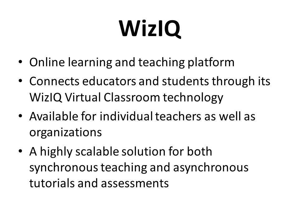 WizIQ Online learning and teaching platform