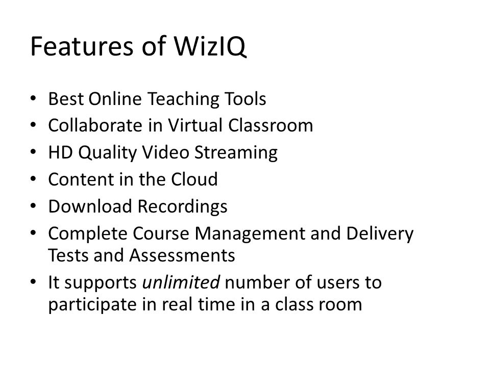 Features of WizIQ Best Online Teaching Tools