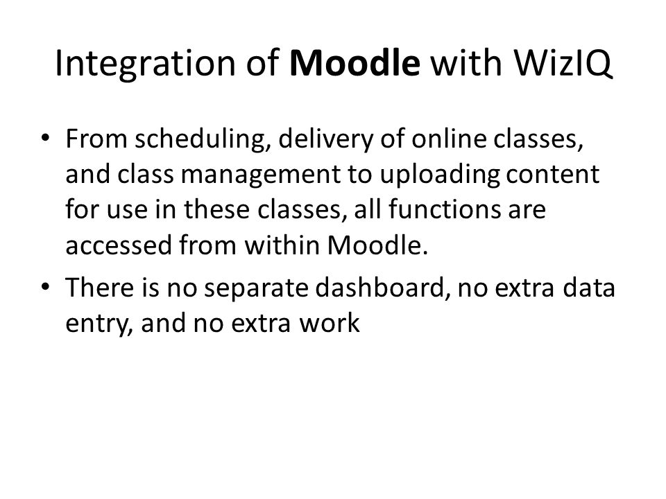 Integration of Moodle with WizIQ