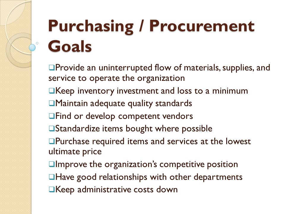 Purchasing / Procurement Goals