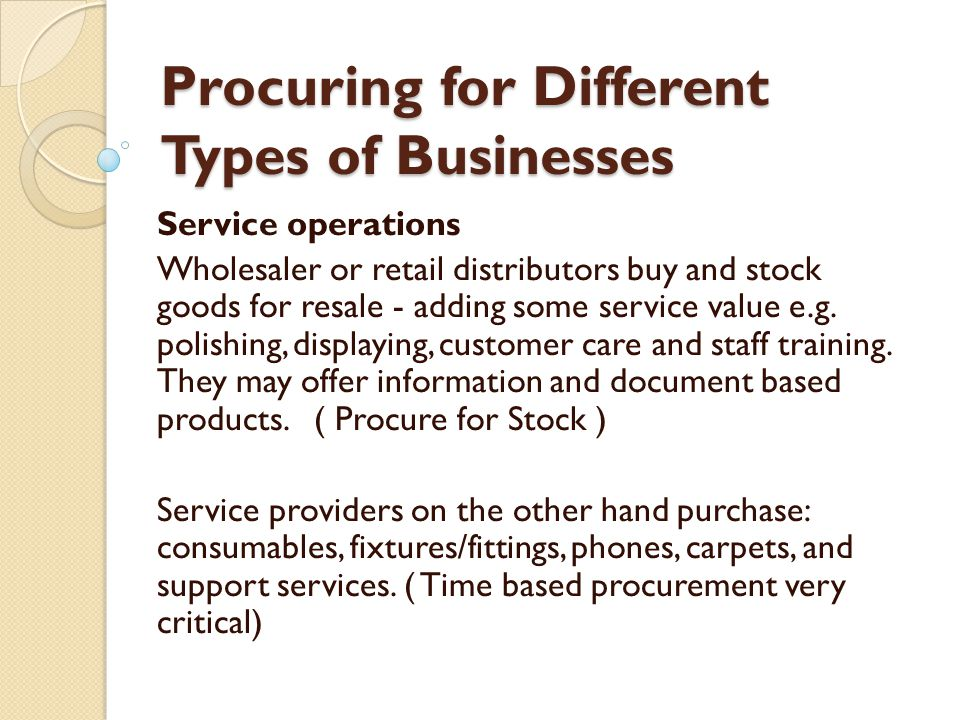 Procuring for Different Types of Businesses