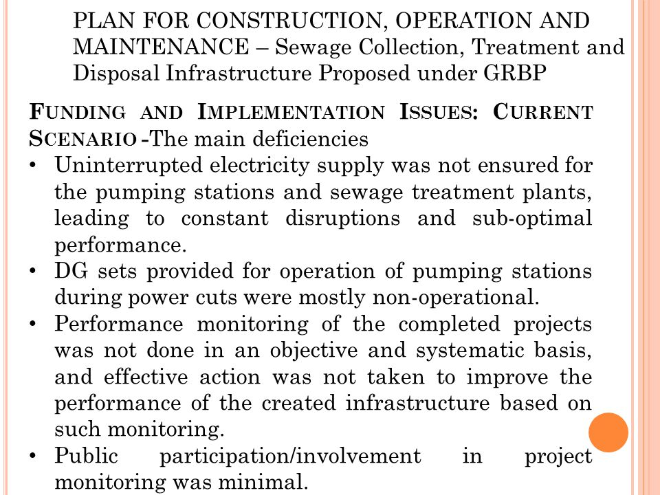 PLAN FOR CONSTRUCTION, OPERATION AND