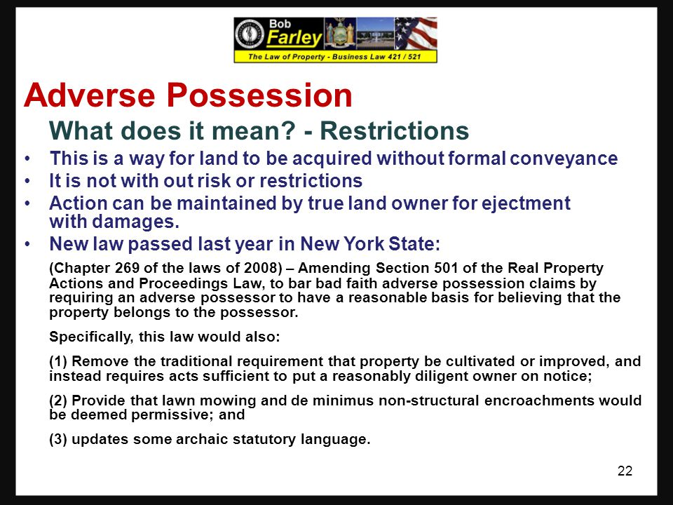Adverse Possession What does it mean - Restrictions