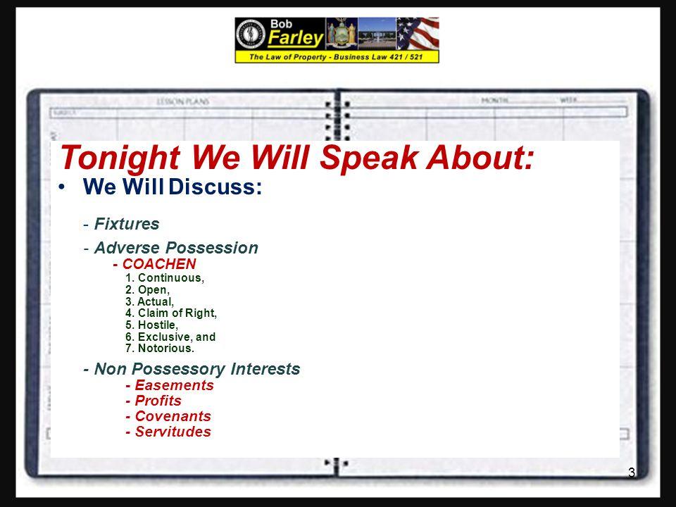 Tonight We Will Speak About: