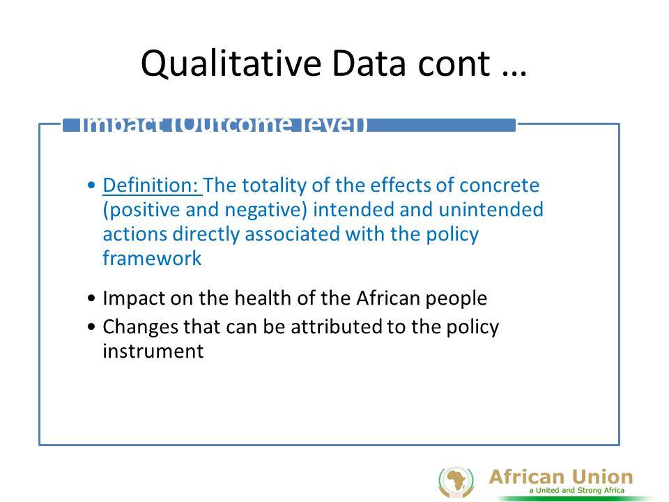 Qualitative Data cont …