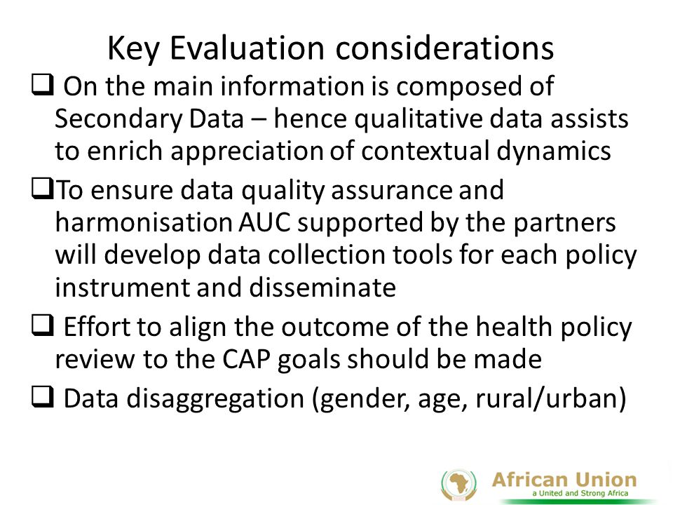 Key Evaluation considerations