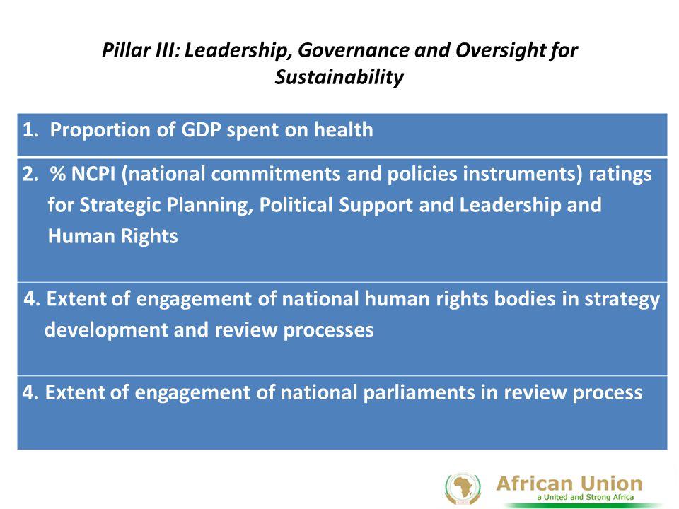 Pillar III: Leadership, Governance and Oversight for Sustainability