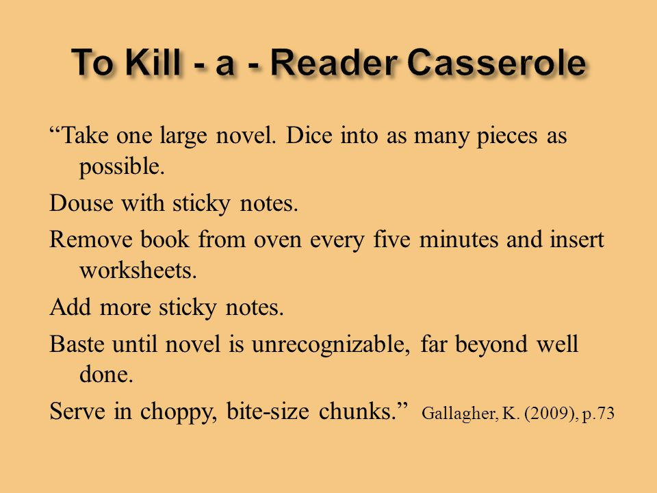 To Kill - a - Reader Casserole