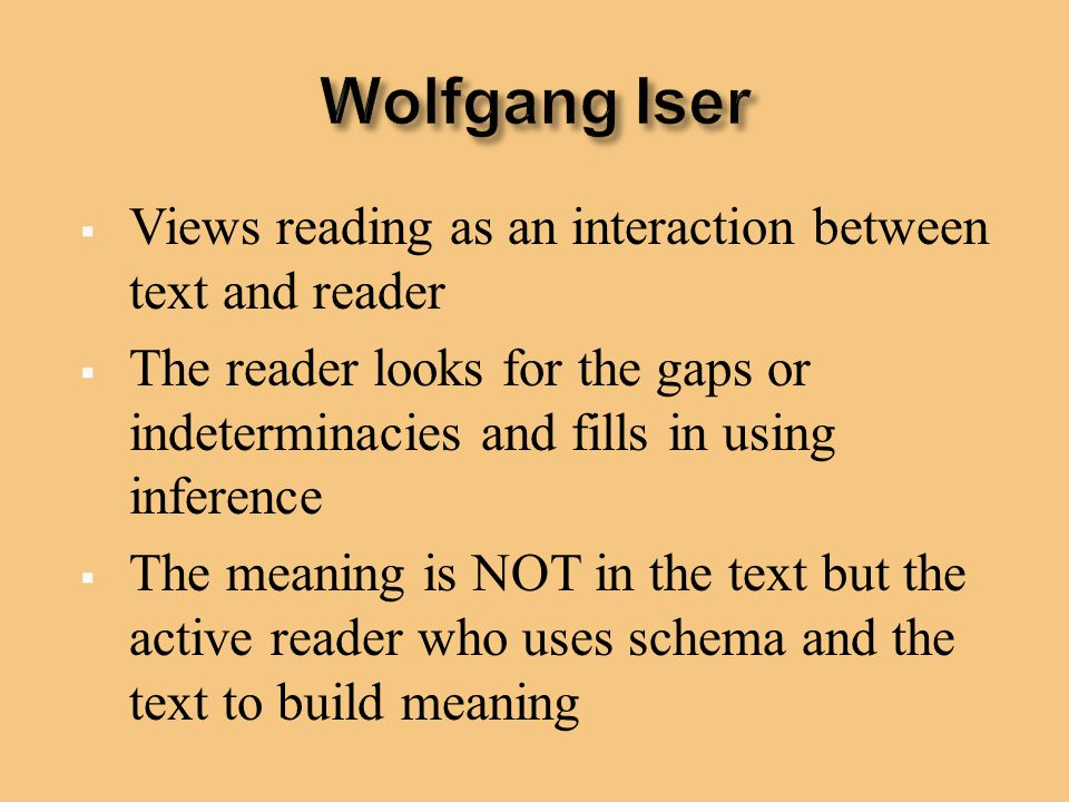 Wolfgang Iser Views reading as an interaction between text and reader