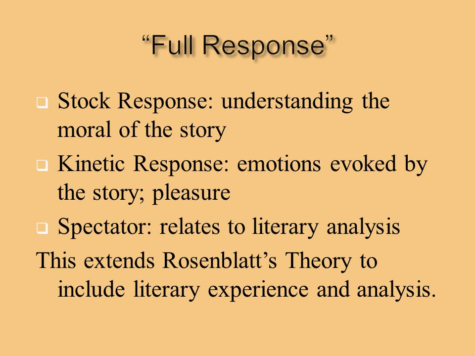Full Response Stock Response: understanding the moral of the story