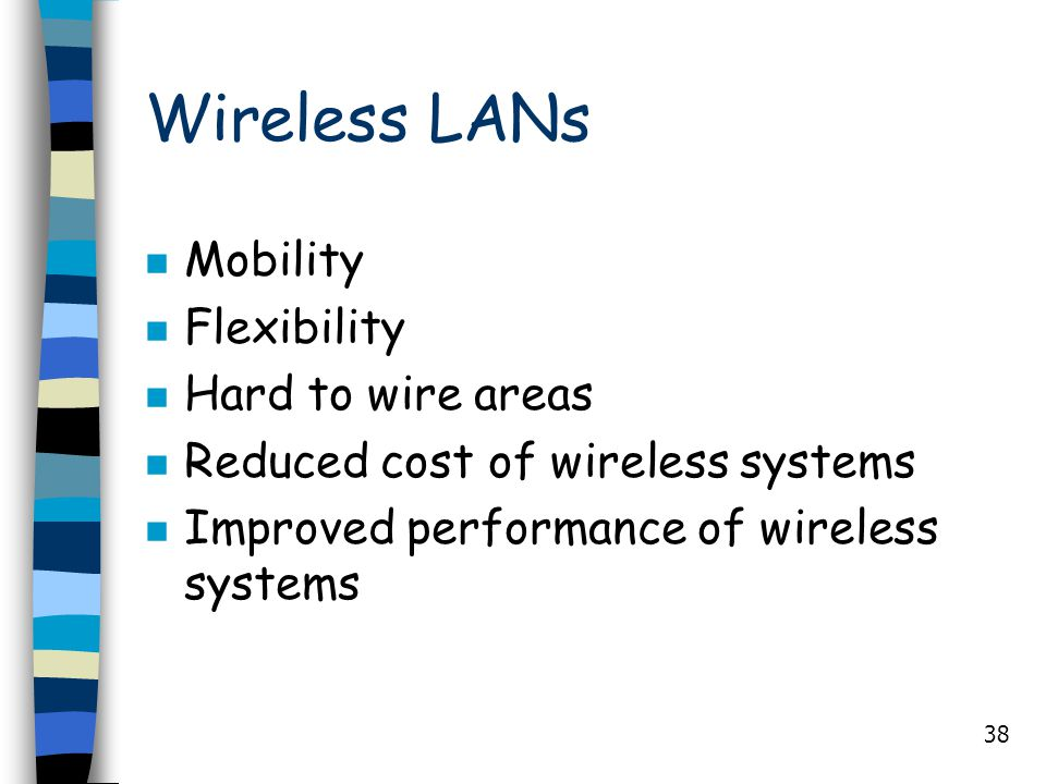 Wireless LANs Mobility Flexibility Hard to wire areas