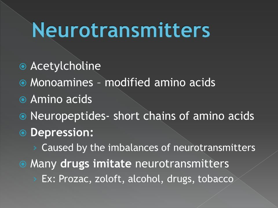 Neurotransmitters Acetylcholine Monoamines – modified amino acids