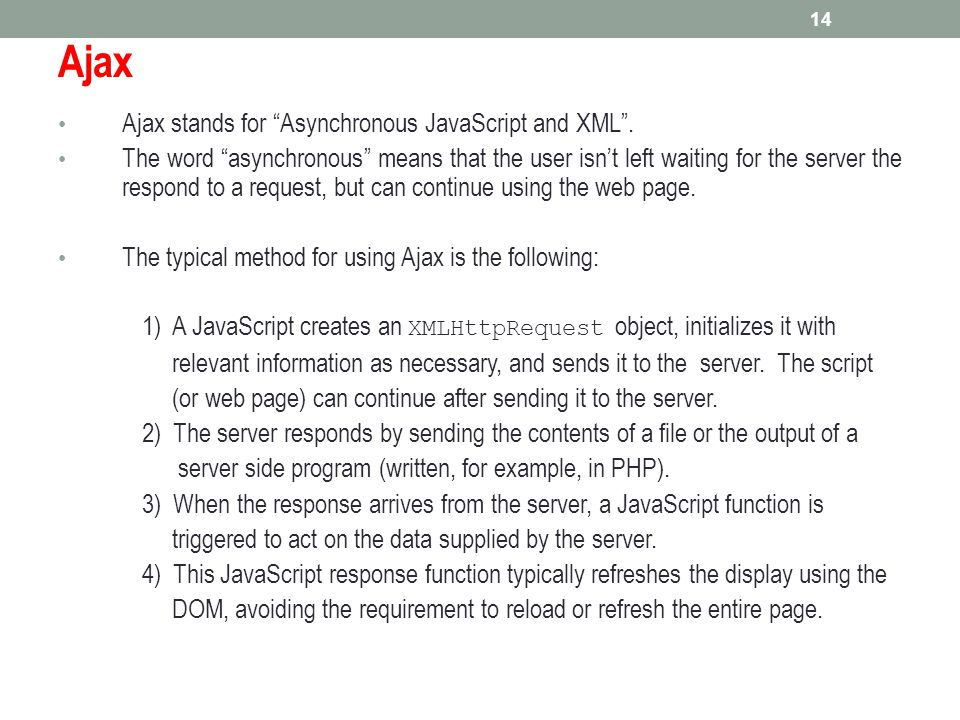 Ajax Ajax stands for Asynchronous JavaScript and XML .