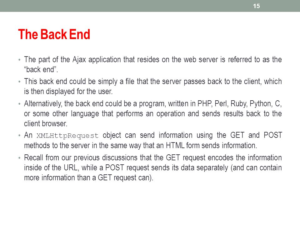 The Back End The part of the Ajax application that resides on the web server is referred to as the back end .