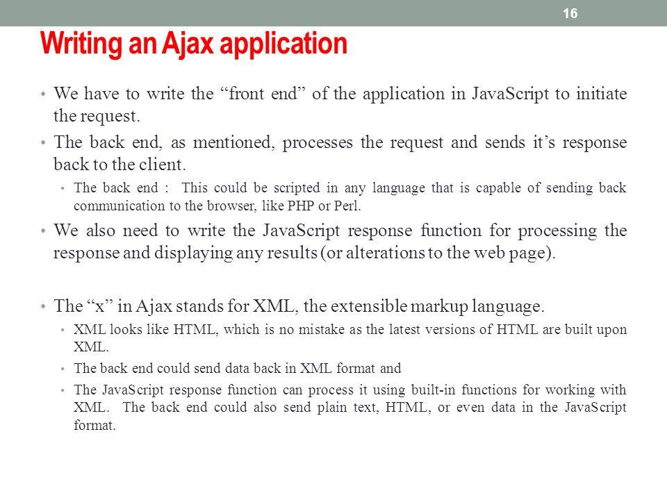 Writing an Ajax application