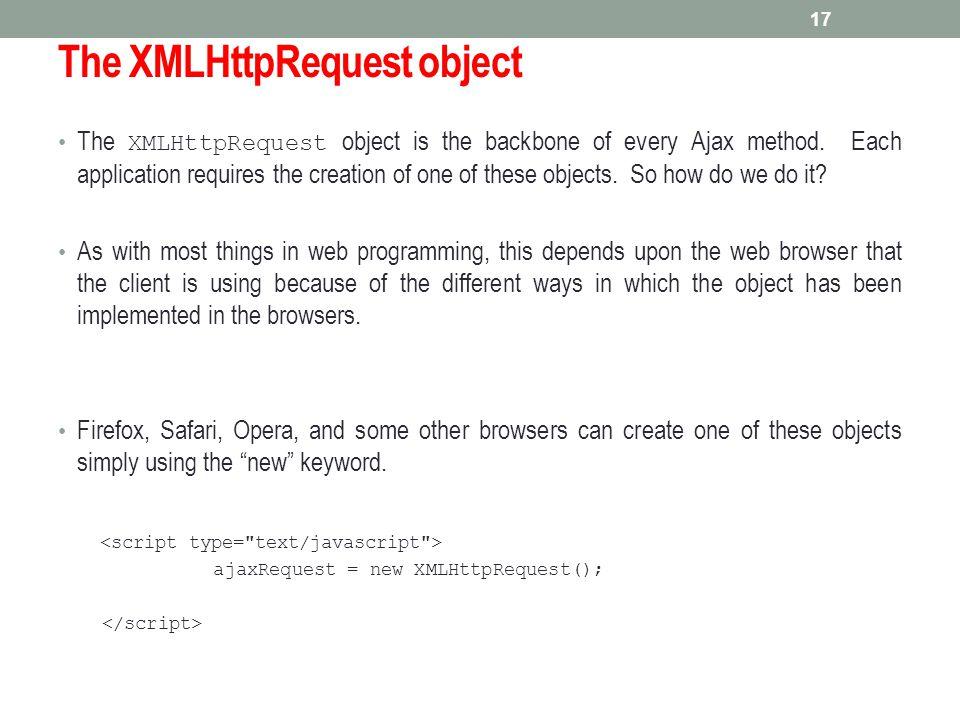 The XMLHttpRequest object