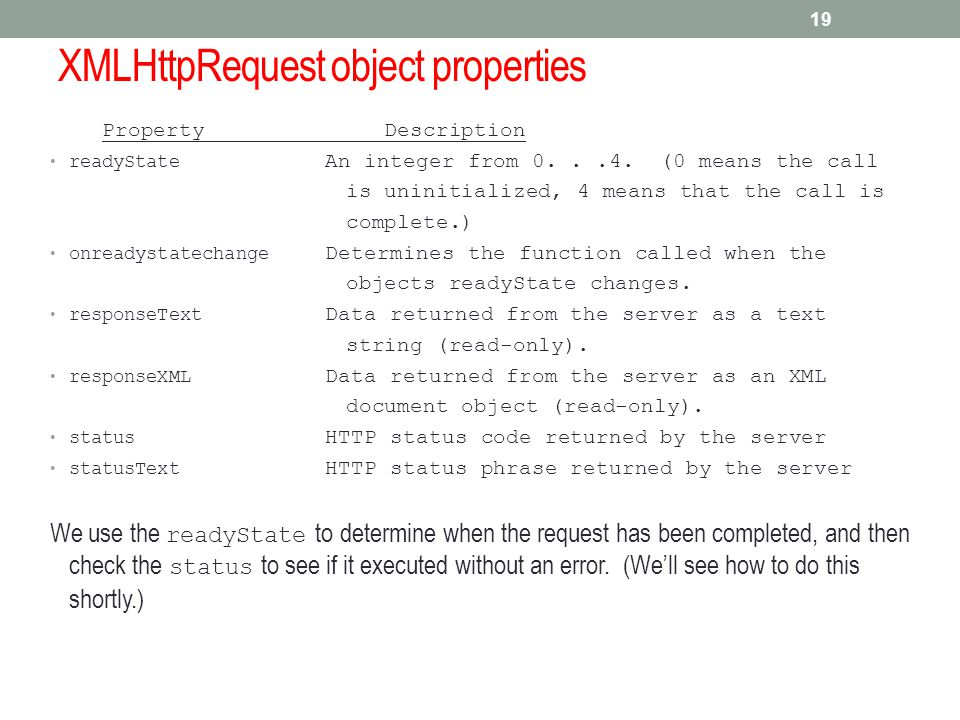 XMLHttpRequest object properties