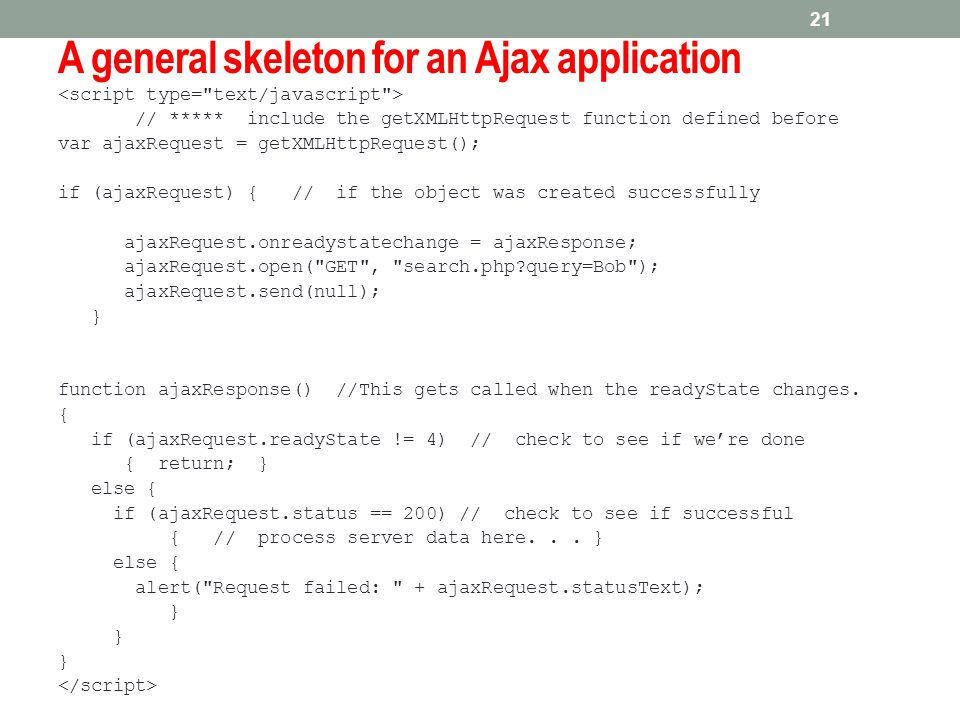 A general skeleton for an Ajax application