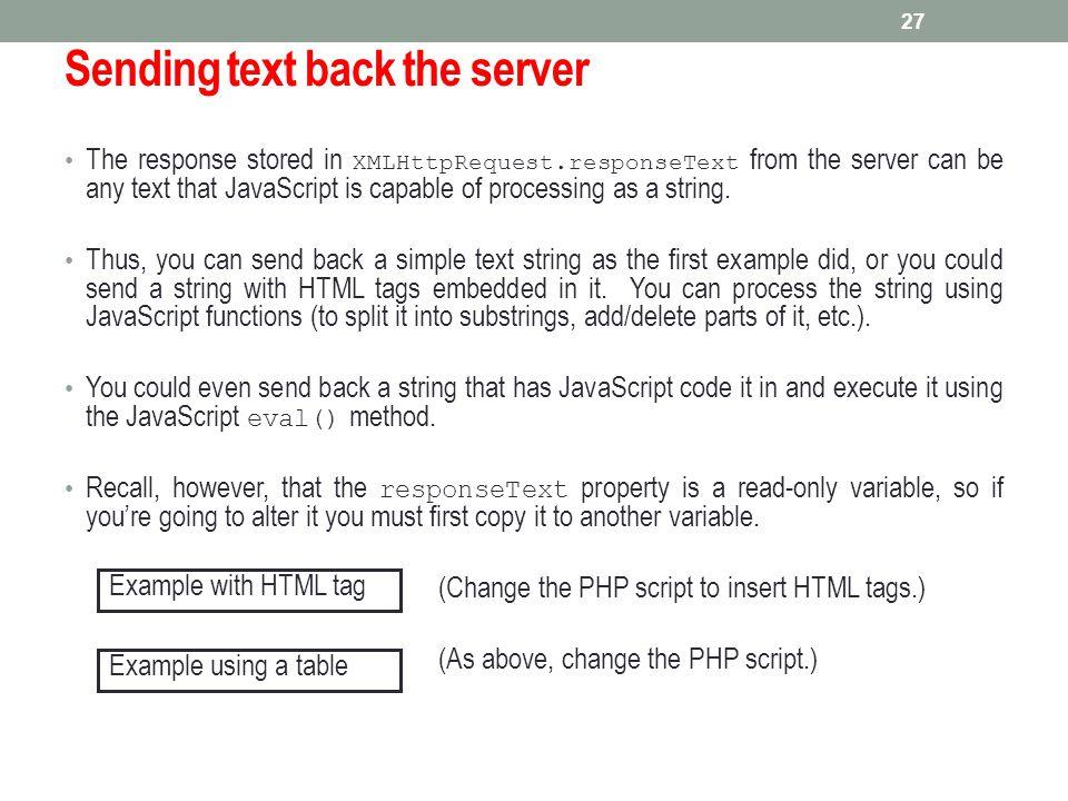 Sending text back the server