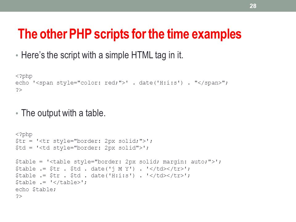 The other PHP scripts for the time examples