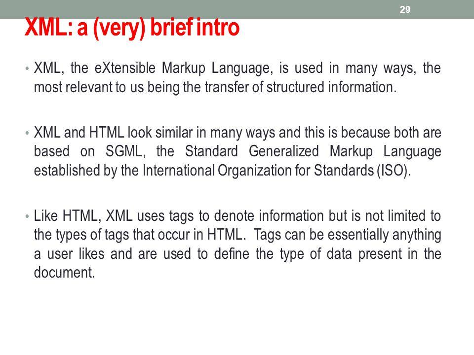 XML: a (very) brief intro