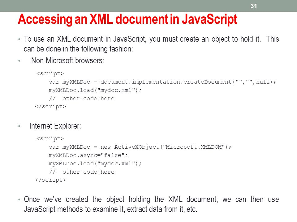 Accessing an XML document in JavaScript