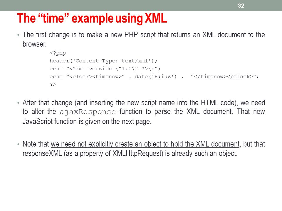 The time example using XML