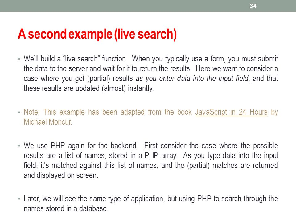 A second example (live search)