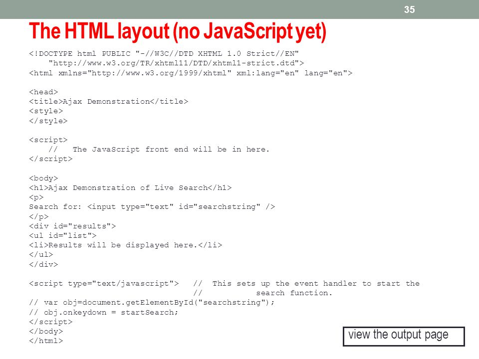 The HTML layout (no JavaScript yet)