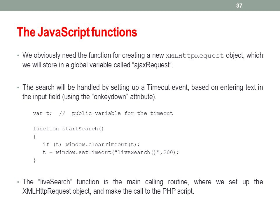 The JavaScript functions