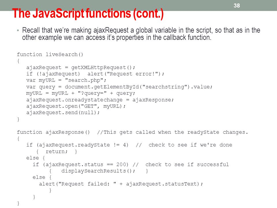 The JavaScript functions (cont.)