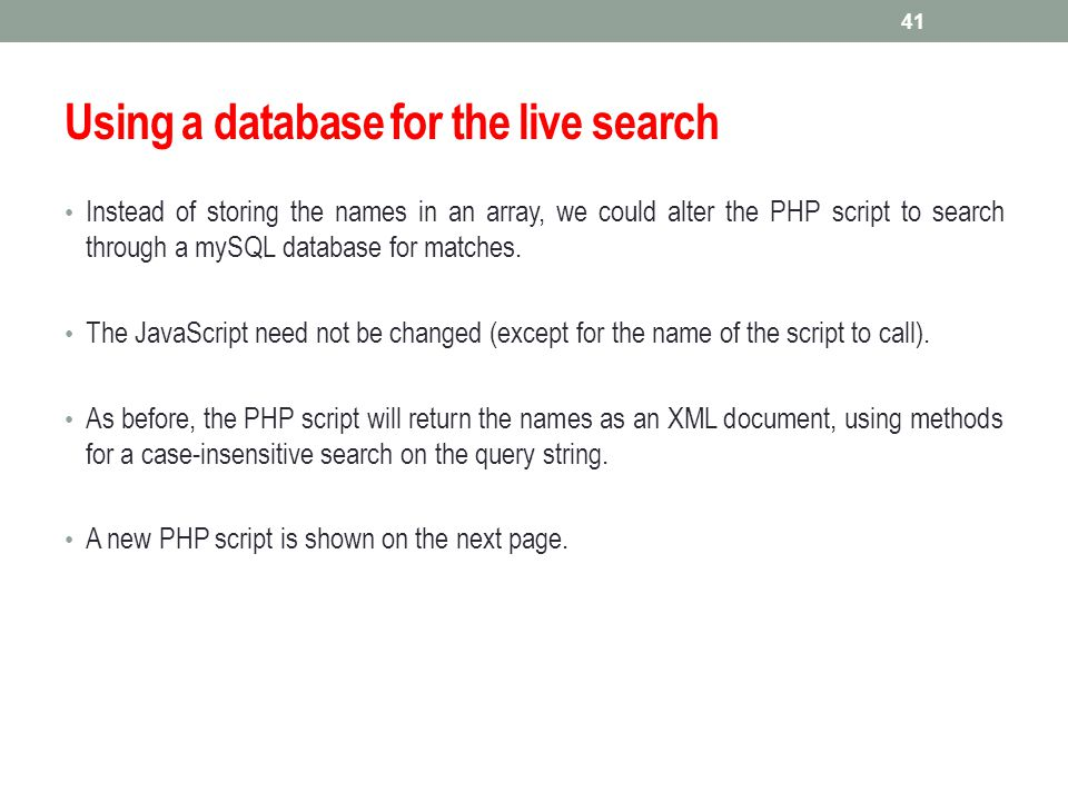 Using a database for the live search