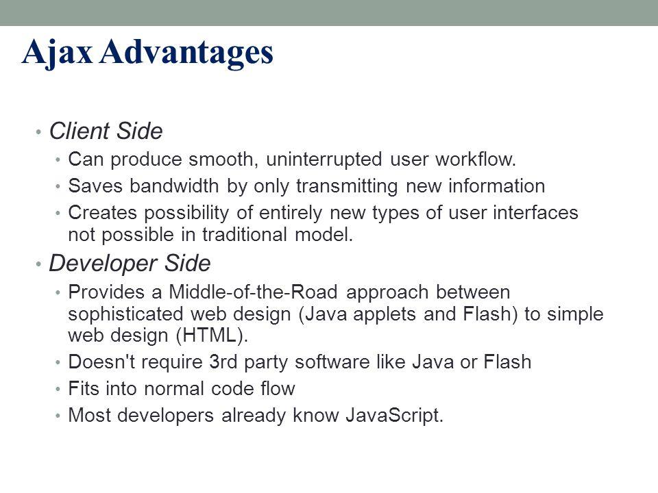 Ajax Advantages Client Side Developer Side