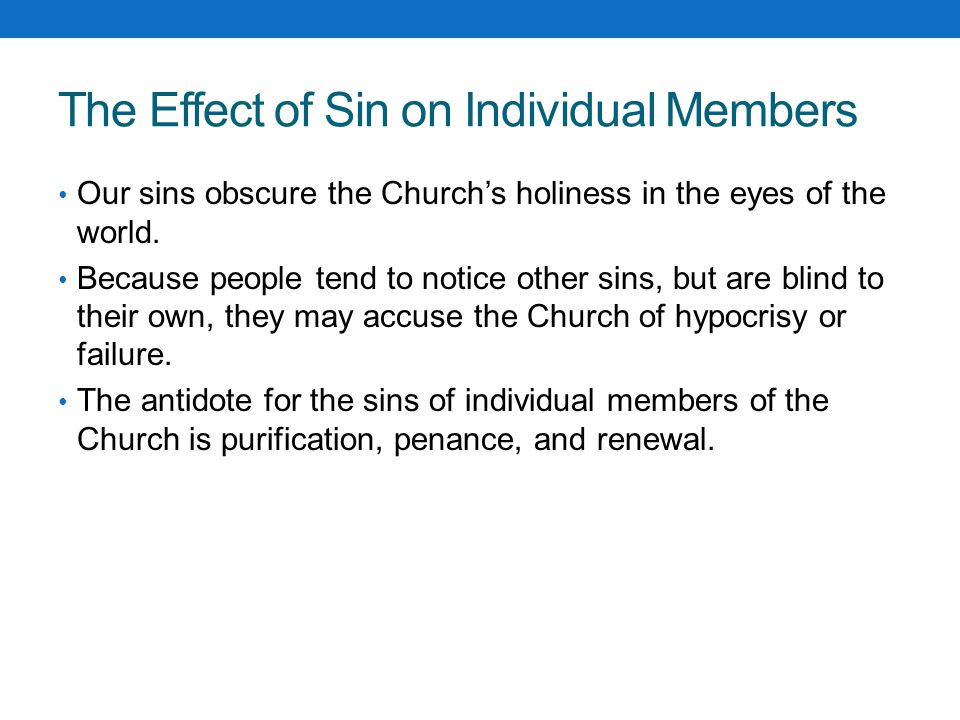 The Effect of Sin on Individual Members