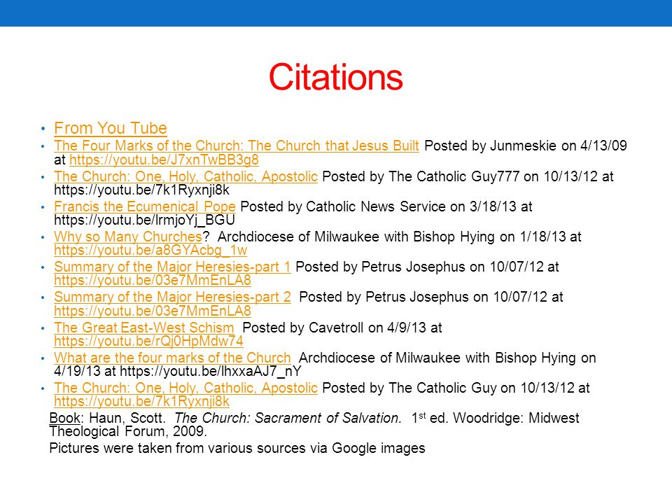 Citations From You Tube