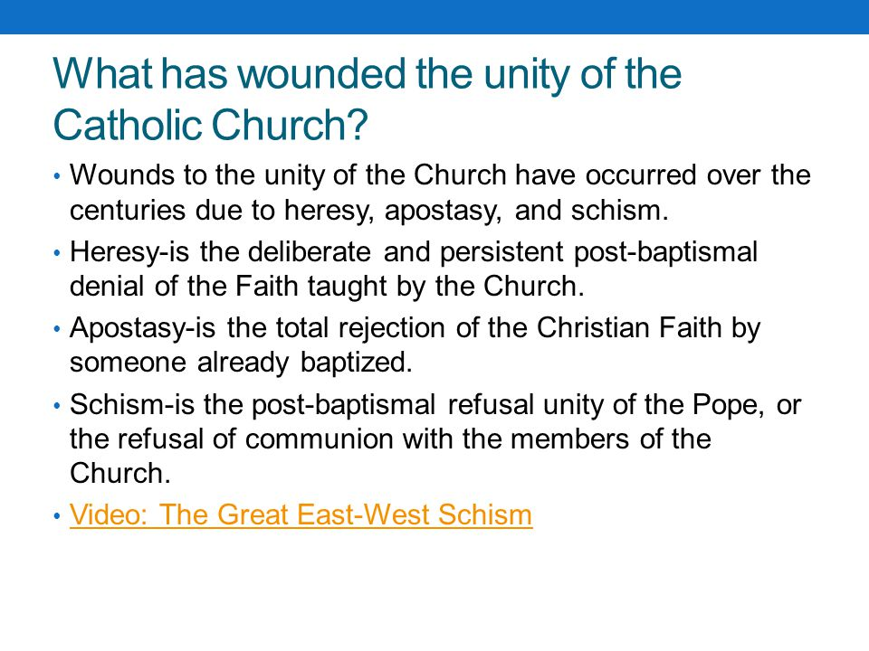 What has wounded the unity of the Catholic Church
