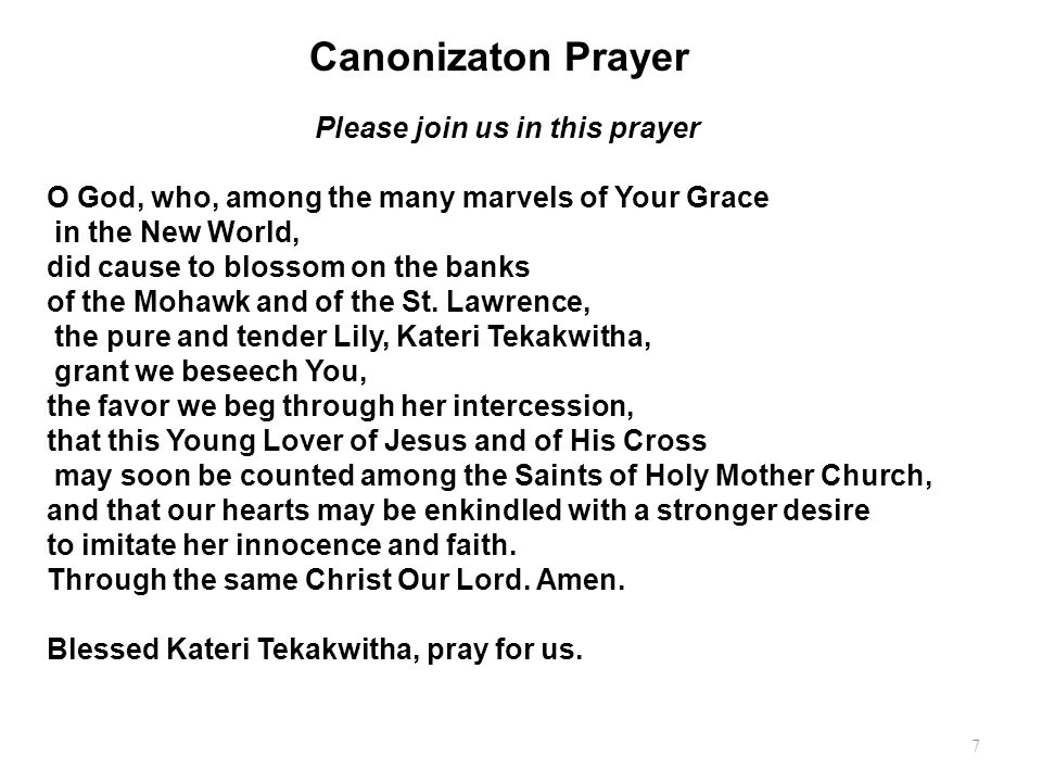 Canonizaton Prayer Please join us in this prayer